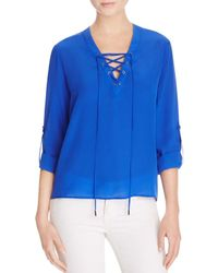 Dora Landa - Blue Mina Lace-up Roll Sleeve Top - 100% Bloomingdale's Exclusive - Lyst