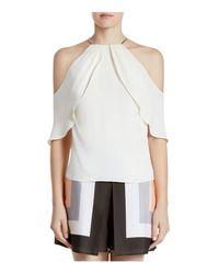 Halston Heritage | White Cold Shoulder Silk-blend Top | Lyst
