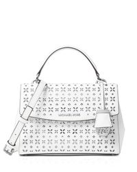 MICHAEL Michael Kors | White Small Ava Perforated Top Handle Satchel | Lyst