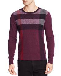 Burberry | Purple Feldon Check Crewneck Sweater for Men | Lyst