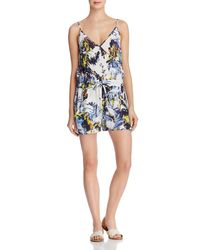 French Connection - Blue Kiki Palm Printed Romper - Lyst