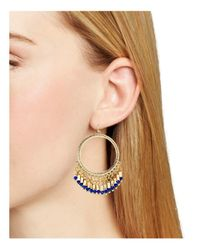 Aqua - Blue Calla Beaded Circle Drop Earrings - Lyst