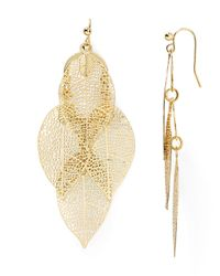 Aqua | Metallic Calliope Leaf Drop Earrings - 100% Exclusive | Lyst