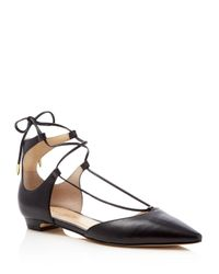 Ivanka Trump - Black Tavyn Leather Lace Up Pointed Toe Flats - Lyst