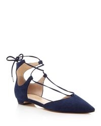 Ivanka Trump - Blue Tavyn Suede Lace Up Pointed Toe Flats - Lyst