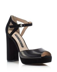 French Connection - Black Dita Ankle Strap High Heel Platform Sandals - Lyst