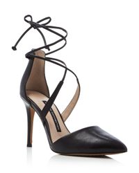 French Connection - Black Elise Pointed Toe Lace Up Pumps - Lyst