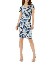 Phase Eight - Blue Feather Print Tucked Dress - Lyst