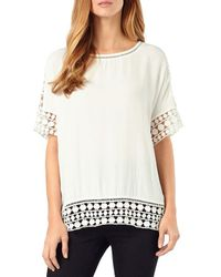 Phase Eight - White Ele Crochet Trim Blouse - Lyst
