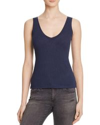 Project Social T - Blue Kate Double V Ribbed Tank - Bloomingdale's Exclusive - Lyst