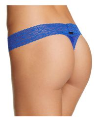 Calvin Klein - Blue Bare Lace Thong - Lyst