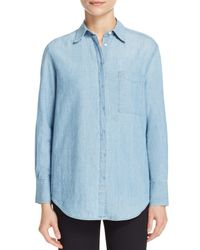 Vince - Blue Oversize Chambray Shirt - Lyst