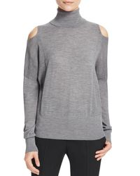 Vince - Gray Cold Shoulder Turtleneck Sweater - Lyst
