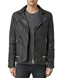 AllSaints | Black Conroy Leather Biker Jacket for Men | Lyst