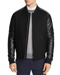 Theory   Black Ferge Voedar Leather Sleeve Bomber Jacket - 100% Exclusive for Men   Lyst