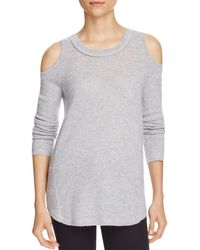 Aqua - Gray Cashmere Cold Shoulder Cashmere Sweater - 100% Exclusive - Lyst