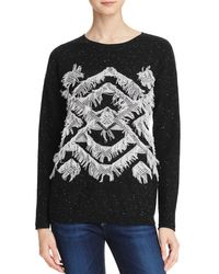 Aqua   Black Cashmere Geo Fringe Cashmere Sweater - 100% Exclusive   Lyst