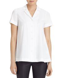 Lafayette 148 New York - White Paula Notch Collar Blouse - Lyst