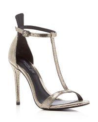Rachel Zoe - Metallic Tee High Heeled Sandals - Lyst