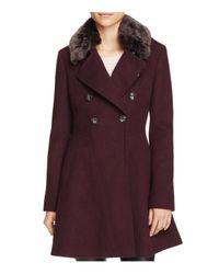 Via Spiga   Purple Double-breasted Faux Fur-trim Wool Blend Coat   Lyst