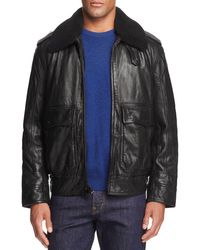 Andrew Marc | Black Anchorage Shearling Collar Lambskin Leather Aviator Jacket for Men | Lyst