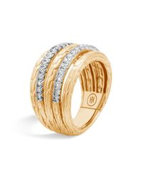 John Hardy | Metallic 18k Yellow Gold Classic Chain Five Row Ring With Diamonds | Lyst