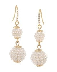 Carolee | White Simulated Pearl Double Drop Earrings | Lyst
