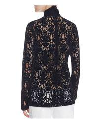 DKNY - Black Velvet Lace Turtleneck Top - Lyst