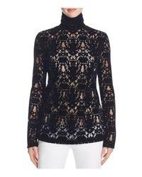 DKNY | Black Velvet Lace Turtleneck Top | Lyst