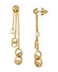 Tory Burch | Metallic Logo Drop Earrings | Lyst