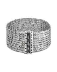 John Hardy   Metallic Sterling Silver Classic Chain Nine Row Bracelet With Black Sapphire   Lyst