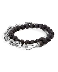John Hardy | Metallic Sterling Silver Classic Chain Wrap Bracelet With Volcanic Rock for Men | Lyst