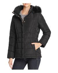 Calvin Klein | Black Faux Fur-trim Hooded Puffer Coat | Lyst
