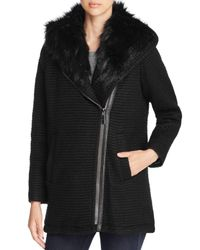 Vince Camuto | Black Faux-fur-trim Hooded Puffer Coat | Lyst