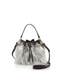 MILLY   Black Small Faux-fur Drawstring Bucket Bag   Lyst