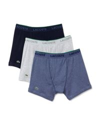Lacoste | Blue Supima® Cotton Solid Boxer Briefs - Pack Of 3 for Men | Lyst