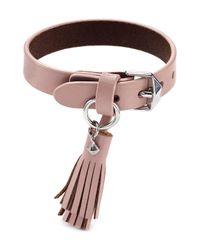 Rebecca Minkoff - Pink Tassel Leather Bracelet - Lyst