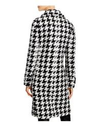 Calvin Klein - Black Houndstooth Coat - Lyst