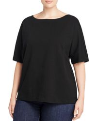 Eileen Fisher | Black Elbow Sleeve Top | Lyst