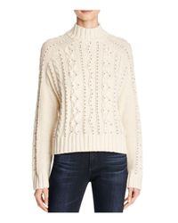 Aqua | Natural Beaded Cable Knit Sweater | Lyst