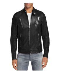 DIESEL - Black Moto Scaled Lambskin Leather Jacket for Men - Lyst