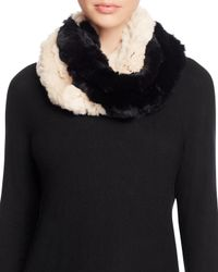 Surell | Black Two-tone Rabbit Fur Infinity Scarf - 100% Exclusive | Lyst