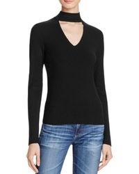 Aqua | Black Long Sleeve Rib Peek V-neck Top - 100% Exclusive | Lyst