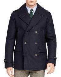 Polo Ralph Lauren   Blue Wool Blend Down Pea Coat for Men   Lyst