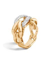 John Hardy | Metallic 18k Gold Bamboo Ring With Diamonds | Lyst