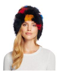 Loeffler Randall - Black Multicolor Fox Fur Tall Hat - Lyst