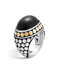 John Hardy | 18k Yellow Gold And Sterling Silver Dot Dome Ring With Black Onyx | Lyst