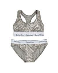 Calvin Klein | Gray Modern Cotton Gift Set: 1 Bralette + 1 Bikini + 2 Hair Ties | Lyst