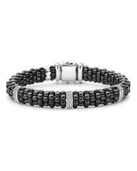 Lagos | Black Caviar Ceramic Bracelet With Sterling Silver And 3 Diamond Bars | Lyst