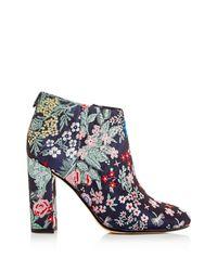 Sam Edelman - Blue Campbell Floral Jacquard Block Heel Booties - Lyst